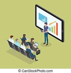 set, monitor, illustrazione, telefono, vettore, dati
