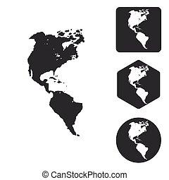 set, monocromatico, americano, continenti, icona