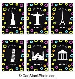set, monumenti, colorare, manifesto, illustrazione, famoso, storico