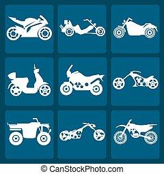 set, motociclette, elementi, icona