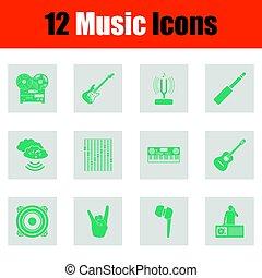 set, musicale, icone