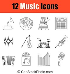 set, musicale, icons.