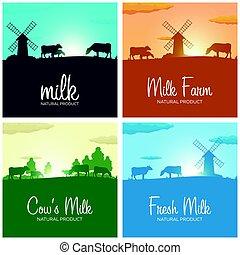 set, naturale, product., sunrise., latte, banners., village., rurale, alba, mulino, paesaggio, cows.