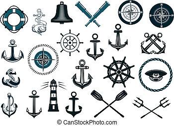 set, nautico, icone
