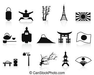 set, nero, giapponese, icone