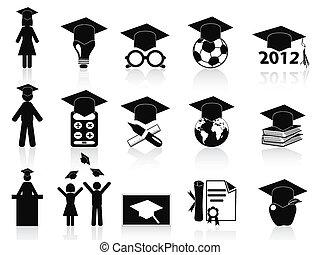 set, nero, graduazione, icone