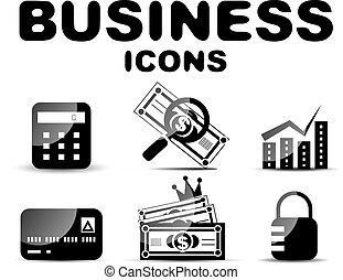 set, nero, lucido, affari, icona