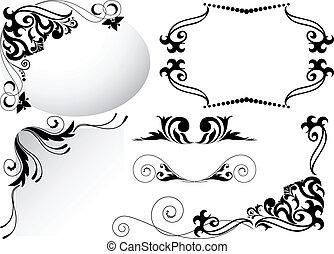 set, nero, ornamenti