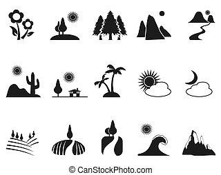 set, nero, paesaggio, icone