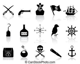 set, nero, pirata, icone