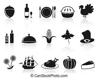 set, nero, ringraziamento, icone