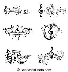 set, note, -, illustrazione, vettore, musicale