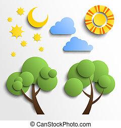 set, nubi, luna, taglio, icons., carta, albero, stelle, sole, design.