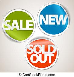 set, nuovo, scontare, venduto, etichette, articolo, fuori