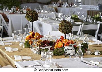set, o, cenando, matrimonio, tavola, corporativo, evento