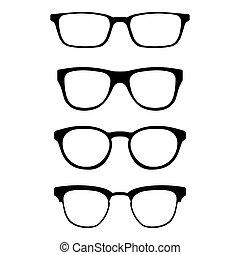 set, occhiali da sole, illustration., silhouettes., isolato, icons., forme, fondo., vettore, vario, bianco, modello, occhiali