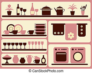 set., oggetti, cucina, casa, materiale