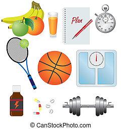 set, oggetti, fitness.
