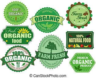 set, organico, fattoria, etichette, cibo, fresco, tesserati magnetici