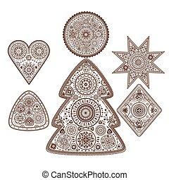 set, ornamentale, elementi