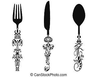 set, ornamento, coltelleria