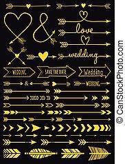 set, oro, frecce, matrimonio, vettore