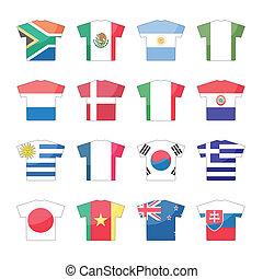 set, paesi, icone, -, 1, 2, bandiere
