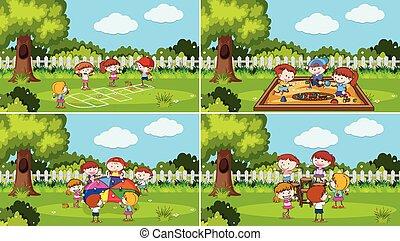 set, parco, gioco, bambini