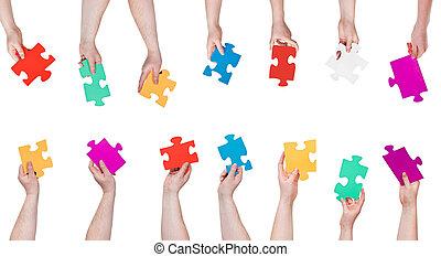 set, persone colorano, confondere pezzi, mani