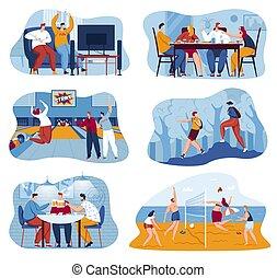 set, persone equipaggiano, gioco, video, insieme, esterno, felice, bowling, carattere, pallavolo, amicizia, donna, illustrazione, vettore, collection., giochi, tavola