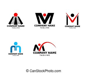 set, persone, m, disegno, lettera, logotipo, ispirazione