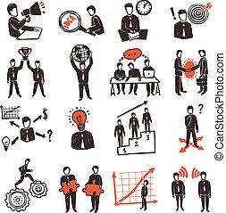 set, persone riunione, icona