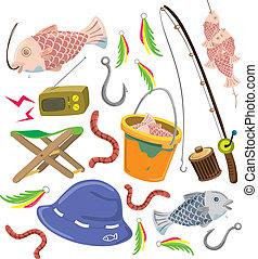 set, pesca, colorito, roba
