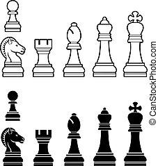 set, pezzi gioco scacchi