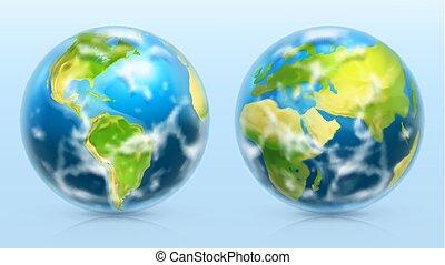 set, pianeta, realistico, vettore, icona, earth., 3d