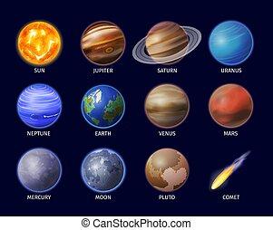 set, pianeta, spazio