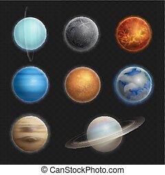 set, pianeti, sistema, illustrazione, isolato, realistico, vettore, solare