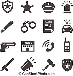 set, polizia, icone