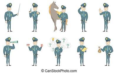 set, poliziotto, giovane, vettore, illustrazioni, caucasico