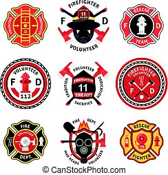 set, pompiere, etichetta