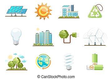 set, potere, eco, energia, icons., verde, pulito