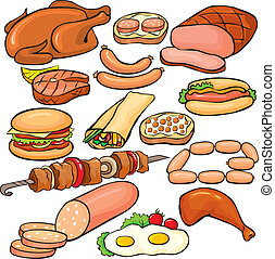 set, prodotti, carne, icona