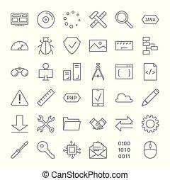 set., programmazione, icone