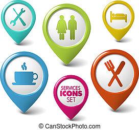 set, puntatori, vettore, servizi, rotondo, 3d