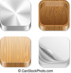 set., quadrato, ui, icone