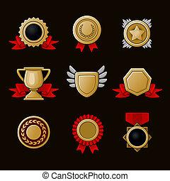 set, realizzazione, icone