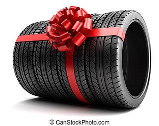 set, regalo, isolato, arco, pneumatici, involvere, nastro
