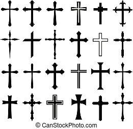 set, religione, disegno, croce, icona