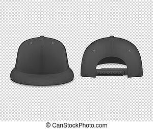 set, render, indietro, disegno, vuoto, isolato, trasparente, fondo., nero, sagoma, 3d, closeup, fronte, advertise., icona, marcare caldo, manichino, berretto, realistico, vettore, baseball, snapback, vista