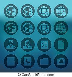 set, rete, icone, telefono mobile, cerchio